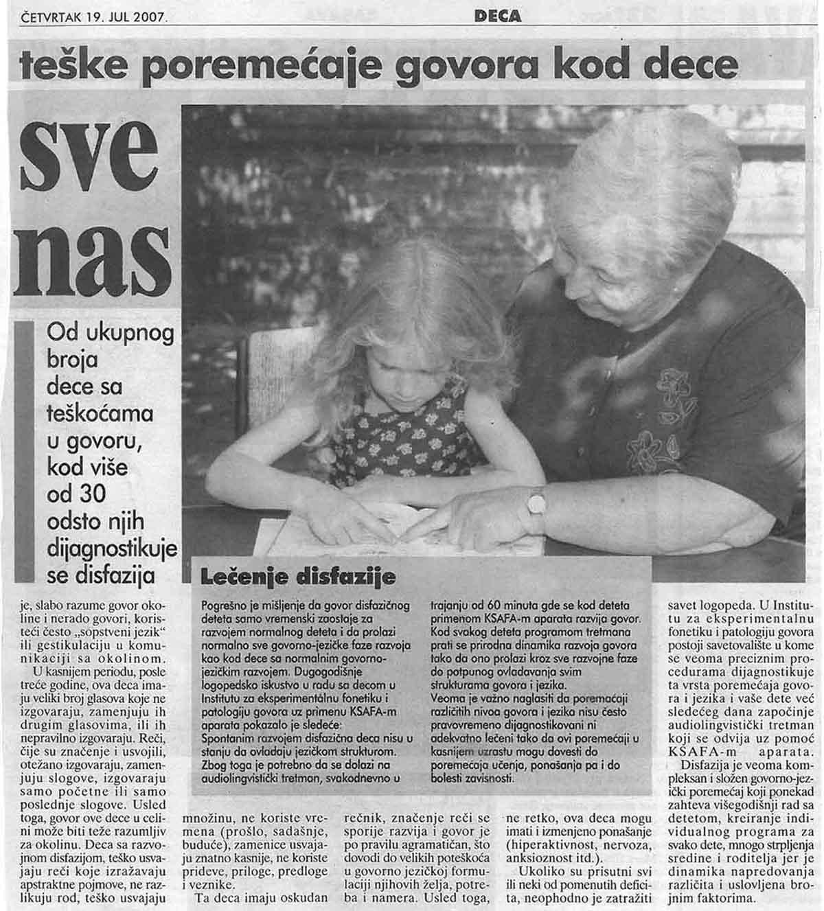 Disfazija sve češća – Blic 19.07.2007