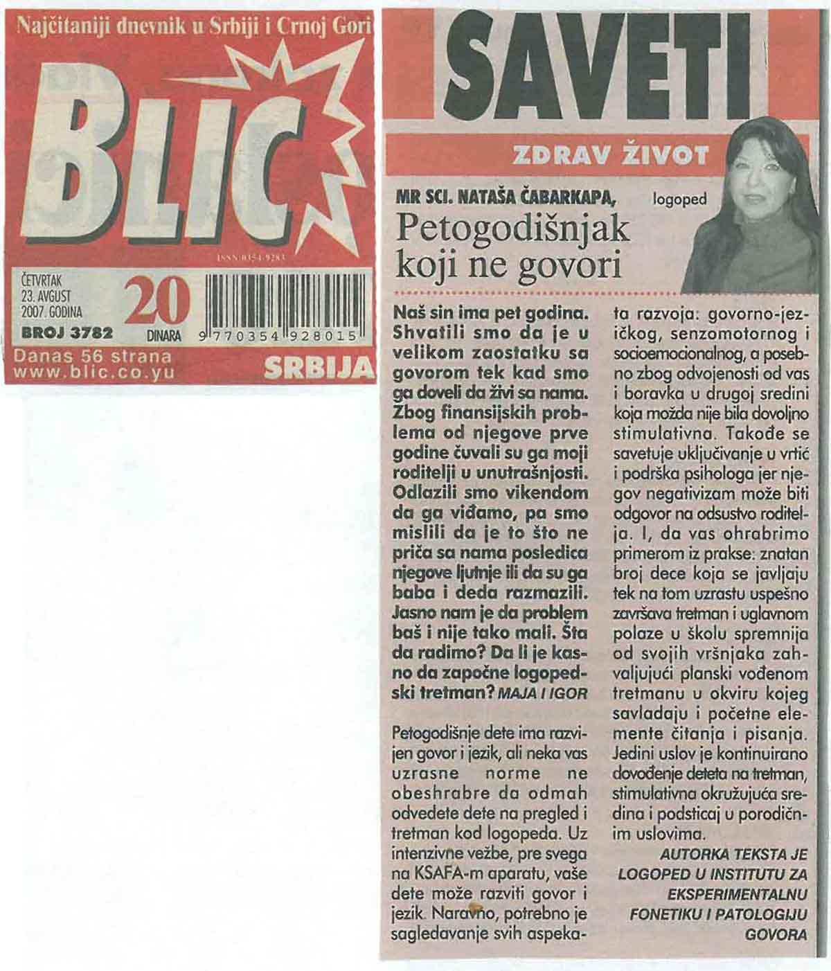 Zdrav život – Blic 23.08.2007