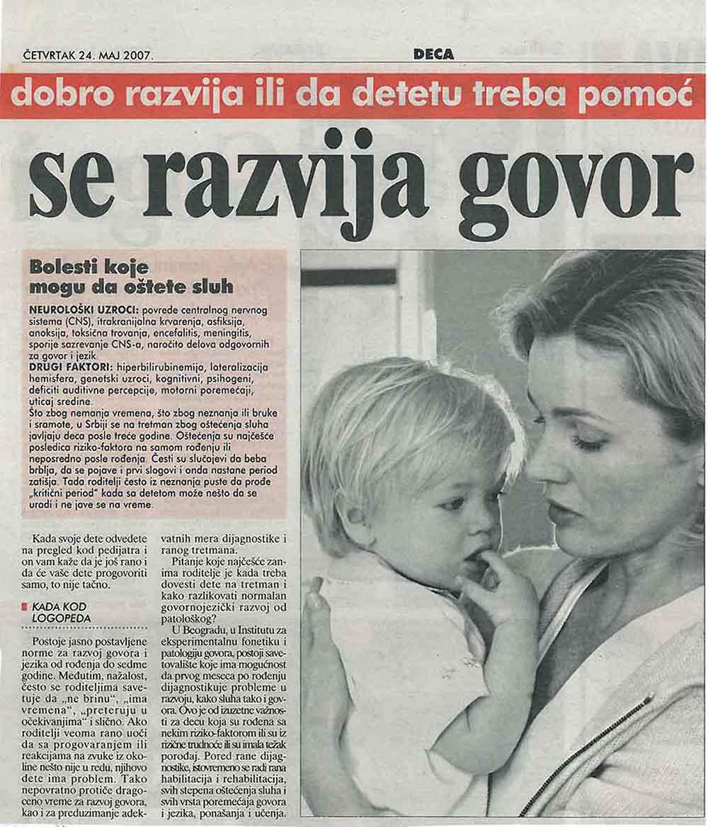 Razvoj govora – Blic 24.05.2017