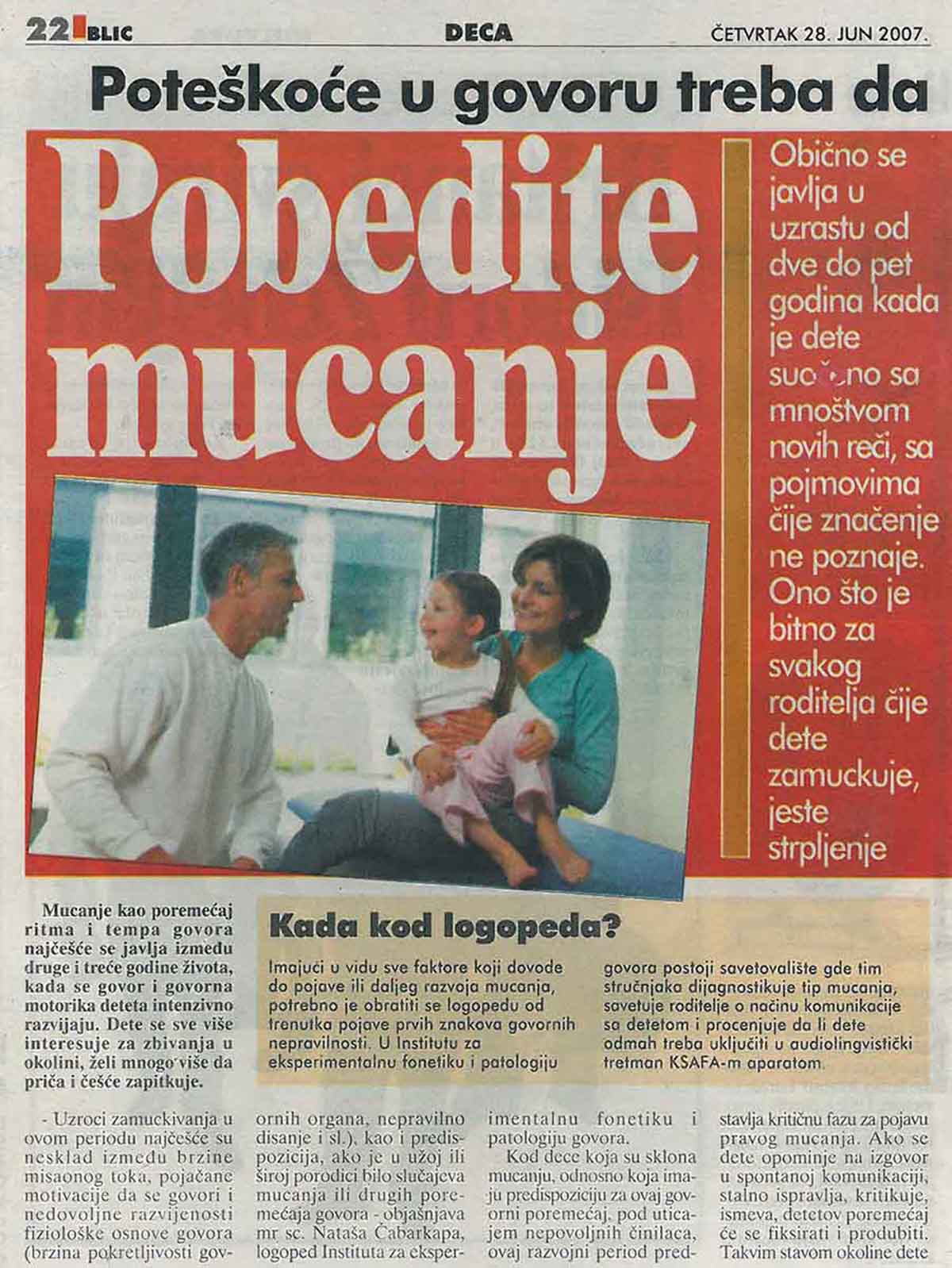 Pobedite mucanje – Blic 28.06.2007