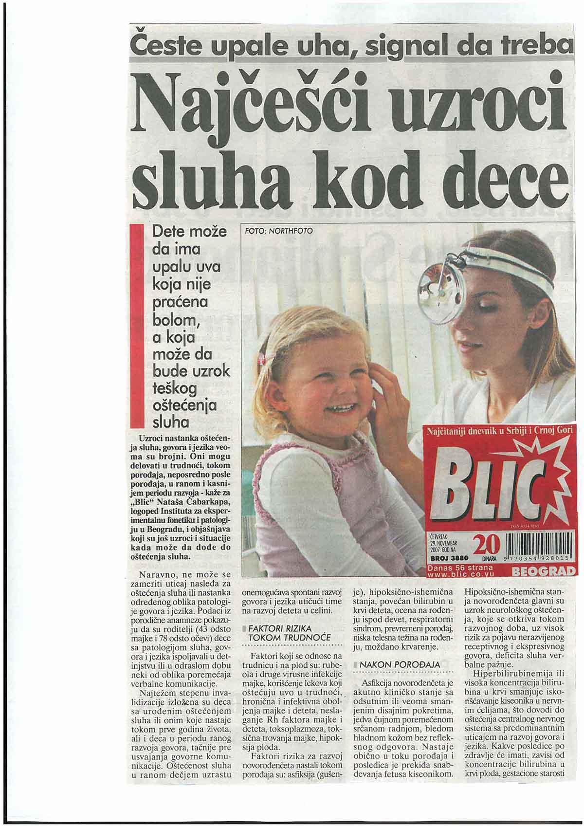 Loš sluh – Blic 29.11.2017