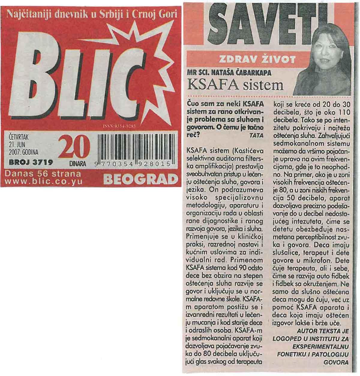 Ksafa sistem – Blic 17.06.2007